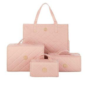 JOY 4 pc Quilted Better Beauty Case & Tote BLUSH